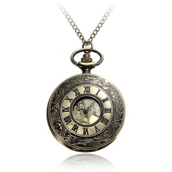 Vintage Roma Numerals Steampunk Bronze Quartz Pocket Watch - Intl