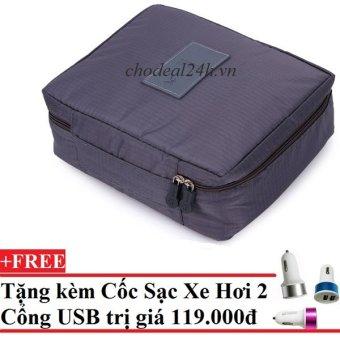 Túi du lịch đựng đồ cá nhân dành cho Nam- chodeal24h.vn (Xám) + Tặng Cốc sạc xe hơi 2 cổng USB