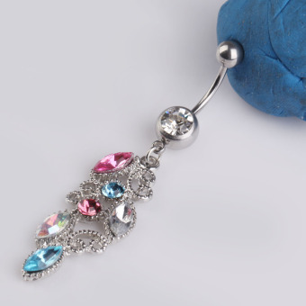 Hot Hollow Colorful Rhinestone Crystal Barbells Navel Belly Button Ring (Intl)