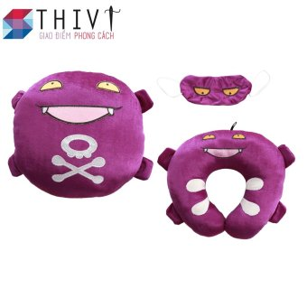 Bộ gối tựa lưng, gối cổ và bịt mắt Pokermon Go 04 - THIVI (Sâu phun khói - Tím)