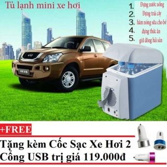Tủ lạnh mini di động 7.5 lít dành cho xe hơi cho deal 24h+Tặng Cốc sạc xe hơi 2 cổng USB