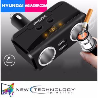 Bộ chia tẩu sạc oto, xe hơi cao cấp 2 tẩu - 2 cổng USB HYUNDAI Có LED báo ắc quy