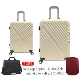 Bộ 2 cái vali nhựa cứng Khung Nhôm size nhỏ 5 và size trung 6 tấc màu trắng TA266