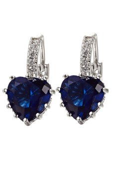 Bluelans 18K Heart Rhinestone Earrings (Dark Blue)