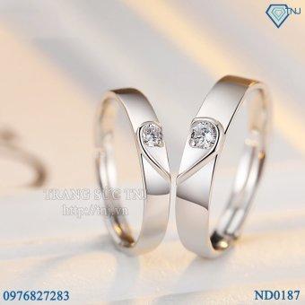 Nhẫn đôi Nhẫn cặp bạc trái tim ghép ND0187