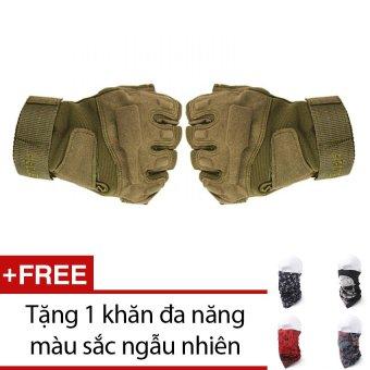 Găng Tay Chiến Thuật Cụt Ngón BlackHawk (Xanh lá lính) + Tặng 1 khăn đa năng màu sắc ngẫu nhiên