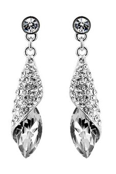Bluelans Rhinestone Teardrop Dangle Earrings (Silver) - Intl