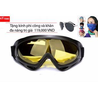 Kính đi phượt chống bụi và tia UV (Vàng) + Tặng kính phi công (Đen) và khăn đa năng màu ngẫu nhiên