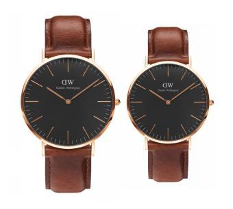 Bộ đôi đồng hồ Daniel Wellington Classic Black ST Mawes mặt 40mm & 36mm cho Nam và Nữ (Vàng)
