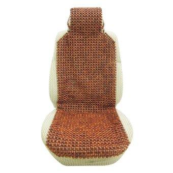 Lót ghế ô tô hạt gỗ phân 2 có gối đầu ADT (Nâu)