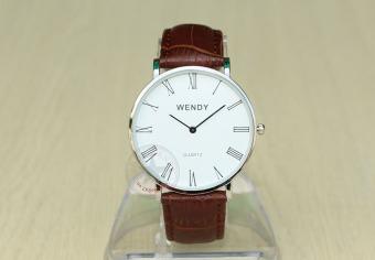 Đồng hồ nam dây da bò vân cá sấu Wendy CH235-1 (Nâu mặt trắng)