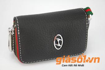 Bao da sần phối màu chìa khóa hãng xe HYUNDAI - Giá Số 1 (Đen)