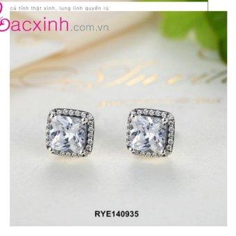 Bông tai nữ trang sức bạc Ý S925 Bạc Xinh -Mặt vuông cá tính RYE140935