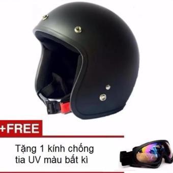 Mũ bảo hiểm 3/4 đầu dành cho phượt thủ + Tặng 1 kính chống tia UV tráng bạc 7 màu