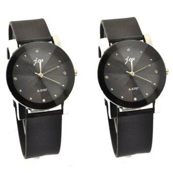 Bộ 2 Đồng hồ nam dây da JW Silicon GE002 (đen)
