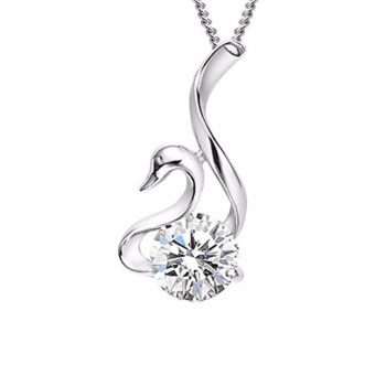 Fancyqube Charming Jewelry Accessories Rhinestone Inlaid Swan Shaped Woman Pendant Necklace Without Chain Color White NL-0677 - intl