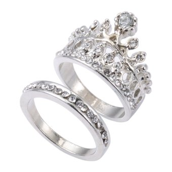 2pcs Crown Design Rhinestone Embellished Ladies Rings