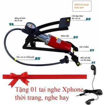 Bơm xe đạp, xe máy, ô tô Cao cấp (loại đạp chân, có đồng hồ đo áp suất) (Tặng tai nghe Xphone thời trang, nghe hay).