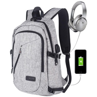 niceEshop Business Water Resistant Polyester Laptop Backpack With USB Charging Port And Lock Fits Under 17-Inch Laptop And Notebook (Grey) - intl