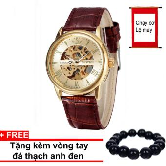 Đồng hồ nam Automatic dây da cao cấp SEWOR mã SW0015 (Mặt Vàng)+ Tặng kèm vòng tay thạch anh