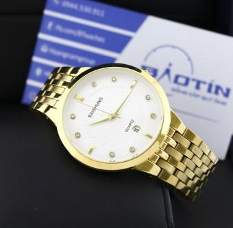 Đồng hồ nam dây kim loại mạ Vàng đính đá BAISHUNS 8548 (Trắng)
