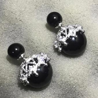 Bông tai ngọc trai đôi nữ tính bạc S925 (Đen)