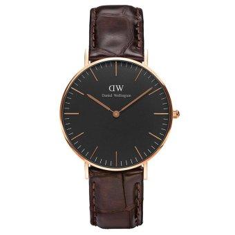 Đồng hồ nữ dây da Daniel Wellington DW00100140 (Nâu Đen)