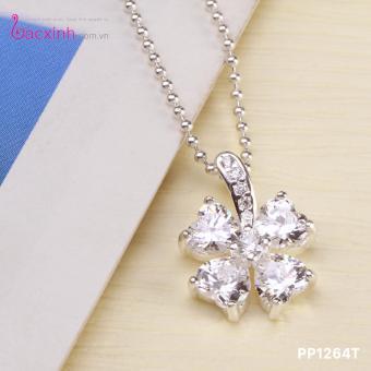 Bộ dây chuyền liền mặt nữ trang sức bạc Ý S925 Bạc Xinh PP1264