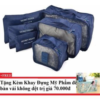 Bộ 6 túi du lịch chống thấm Bags in Bag (xanh dương đậm) + Tặng kèm khay đựng mỹ phẩm để bàn