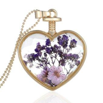 Dây chuyền hoa khô màu tím Trái tim