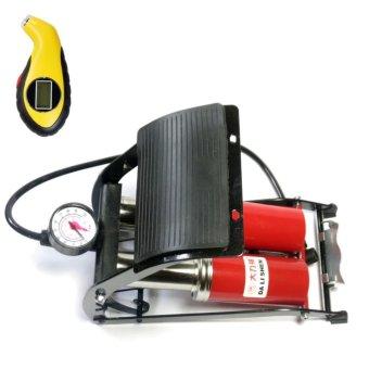 Bộ 1 bơm hơi đạp chân kép ô tô xe máy và 1 đồng hồ đo áp suất lốp xe điện tử