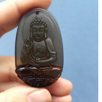 Mặt Dây Chuyền Phật A Di Đà Đá Thạch Anh Khói