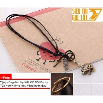 Dây chuyền, vòng cổ nam hình RÌU RỒNG (Đen) + Tặng 1 vòng đeo tay Kim Cô Bổng của Tôn Ngộ Không CỰC CHẤT
