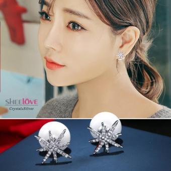Bông tai nữ ngọc trai ngôi sao đính đá lấp lánh sang trọng HKE-E422