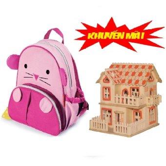 Ba lô hình thú cho bé+tặng kèm Bộ ghép hình 3D ngôi nhà gỗ sáng tạo (Hình chuột hồng)