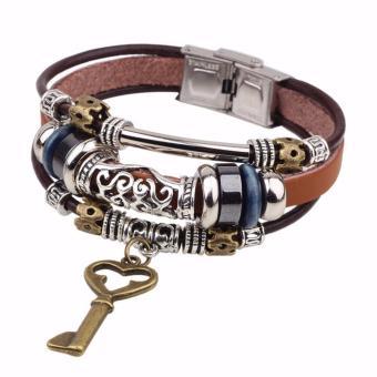 Vòng tay nam handmade chìa khóa cổ điển dây da nâu thời trang