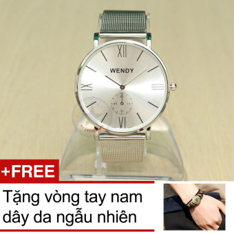 Đồng hồ nam dây thép lưới Wendy CH210 (Bạc) + Tặng 1 vòng đeo tay dây da nam ngẫu nhiên