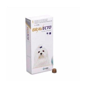 Thuốc phòng trị ghẻ, rận tai, ve, bọ chét và viêm da trên chó: 1 viên BRAVECTO very small (chó 2-4,5kg)