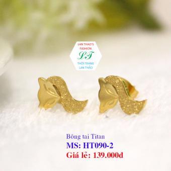Bông tai Titan hình cáo phun cát cực cute HT090-2 (Vàng)