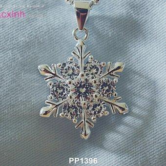 Bộ dây chuyền liền mặt trang sức bạc Ý S925 Bạc Xinh - Hoa Tuyết đẹp PP1396