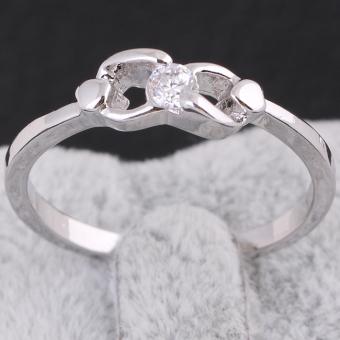 White Gold Gemstone Inlaid Wedding Ring Engagement Ring 17MM - intl