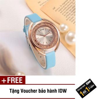 Đồng hồ nữ dây da Kasiqi IDW 8646 (Dây xanh dương) + Tặng kèm voucher bảo hành IDW