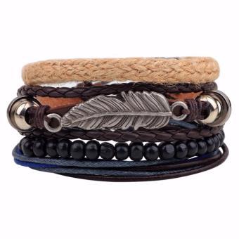 Vòng đeo tay handmade dây da cánh chim phong cách âu mỹ thời trang