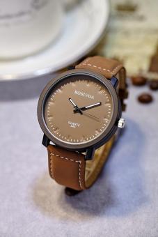 Đồng hồ nam dây da thời trang Rosivga 6954 (Dây nâu mặt nâu)