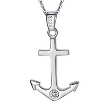 Fancyqube Love Pendants Anchor Rudder Women Anchor Silver (Intl)