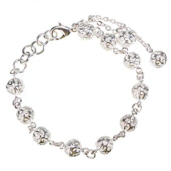 Fashion Jewelry Women 925 Silver-Plated Hollow Lucky Beads Chain Bracelet Bangle - Intl