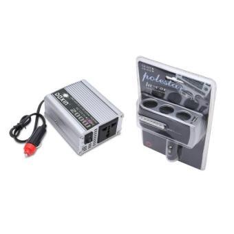 Bộ 1 bộ chuyển đổi nguồn điện 12V-220V-200W và 1 bộ chia ổ cắm 12V trên ô tô cao cấp