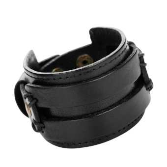 New Genuine Cowhide Leather Fashion Jewelry Charm Bracelet (Black) - Intl
