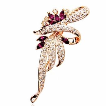 Fancyqube 2017 Crystal Flower Brooch Lapel Pin Fashion Rhinestone Jewelry Women Wedding Hijab Pins Large Brooches For Women Gold - intl