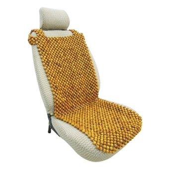 Lót ghế ô tô hạt gỗ pơ-mu đặc biệt A không có gối đầu ADT (Vàng Nâu)